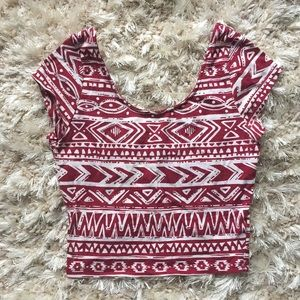 Aztec red and white crop top 3/$10